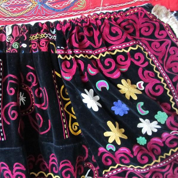 KIRGIZ tribal silk embroidered Velvet Pregnancy skirt