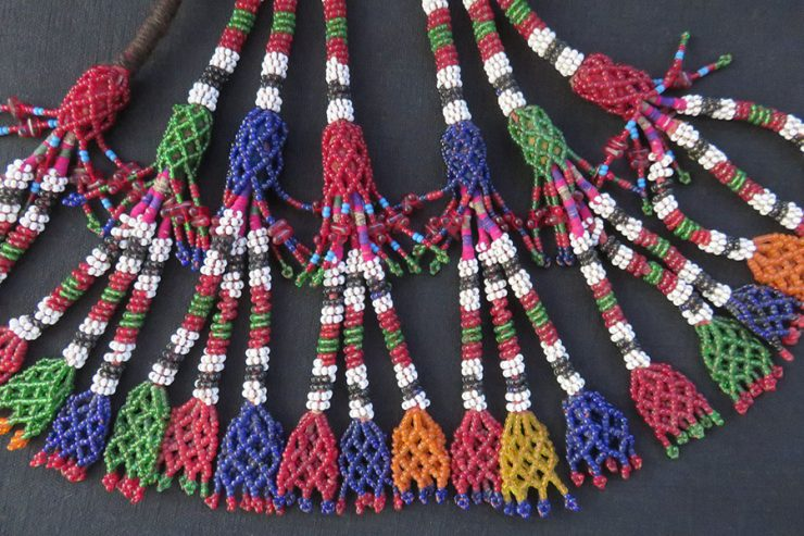 Afghanistan – tribal embroidered beaded set of glass tassels