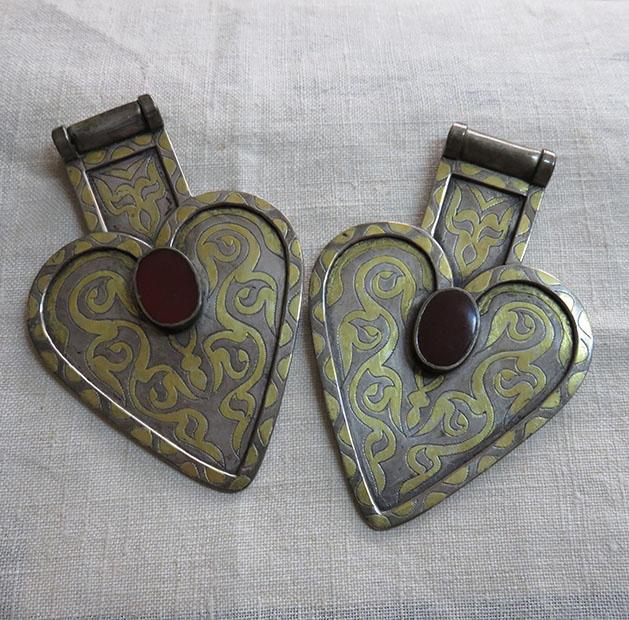 Turkmen silver pair of asyk