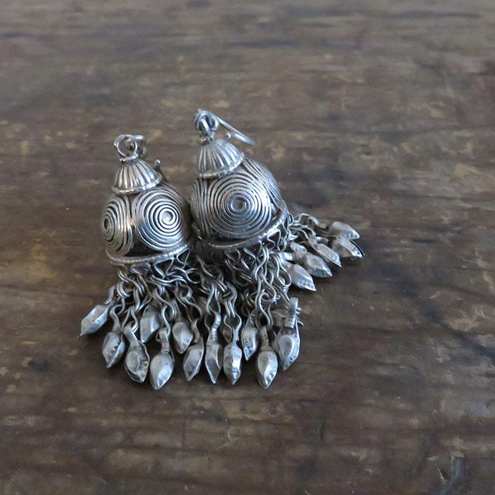 Afghanistan Kochi tribal costume silver earrings