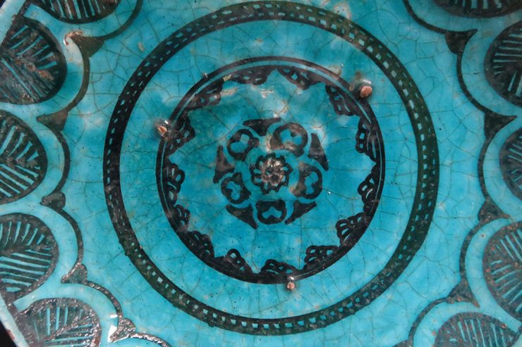 Dagestan glazed antique ceramic plate