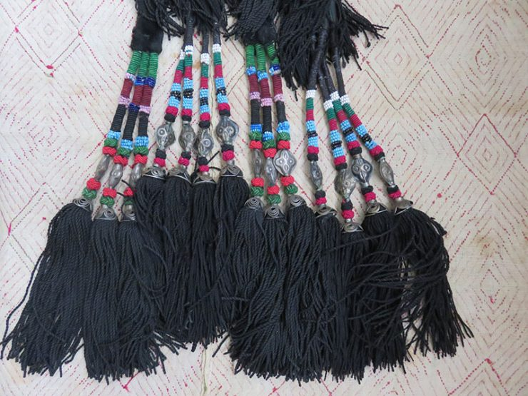 Uzbekistan – Shurkandarya, tribal silk and glass beaded two pair of tassels