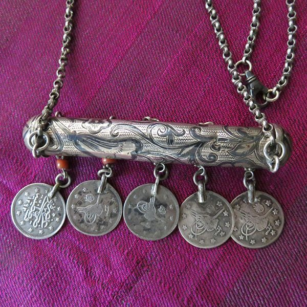 Turkey - Istanbul - Bursa Ottoman antique niello silver talisman necklace