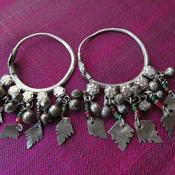 Afghanistan – Kuchi tribal silver pair of earrings