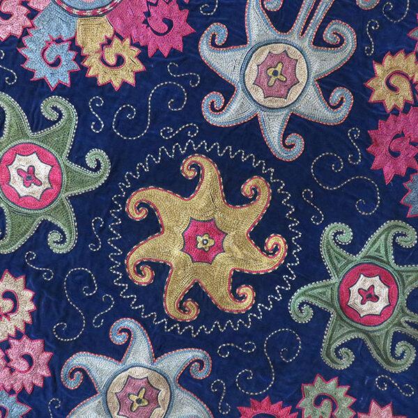 Tajikistan – Lakai tribal mirror cover, silk embroidery on velvet