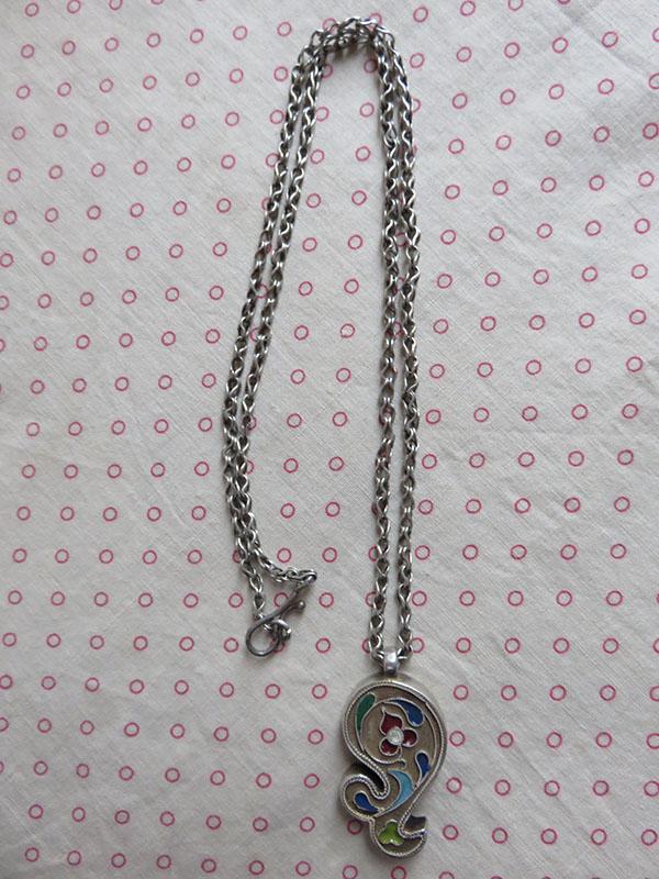Uzbekistan – enameled high karat silver necklace