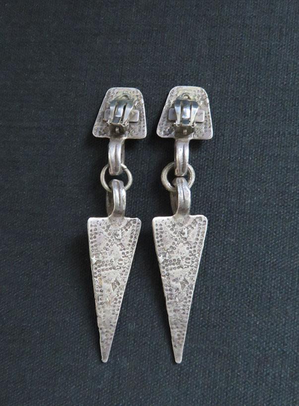 Kazak - Central Asia silver tribal head costume earrings