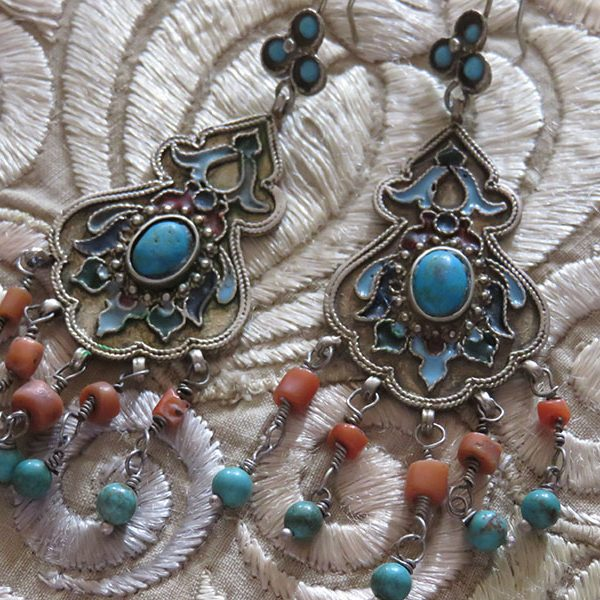 Uzbekistan Bokhara ethnic pair of earrings
