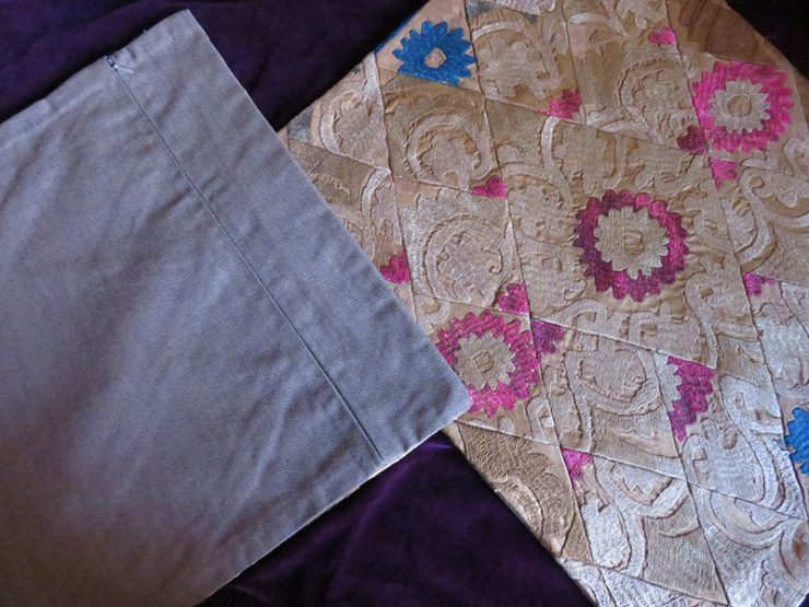 Tajikistan pair of old suzani embroidery pillow covers