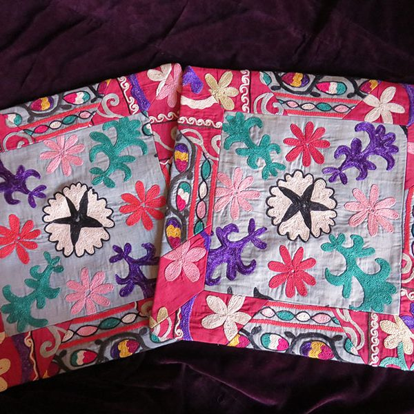 Tajikistan Suzani pair of silk pillow covers