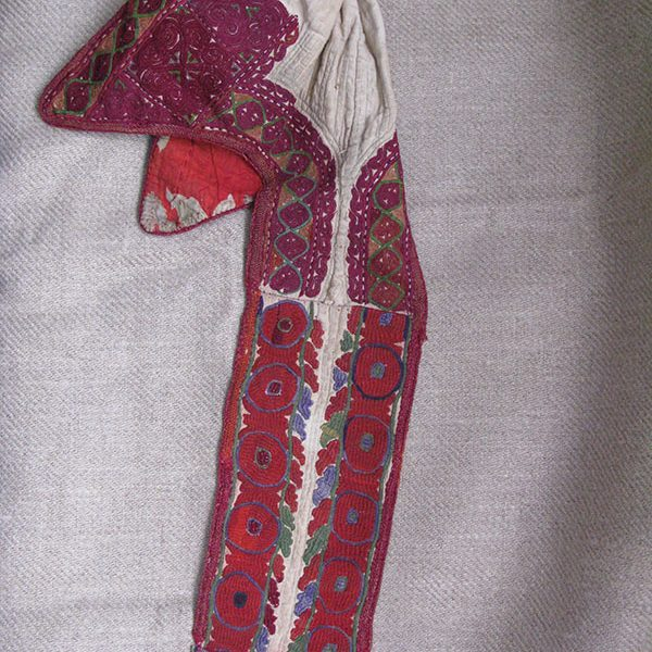 Kirgizstan tribal silk embroidery hat with tail