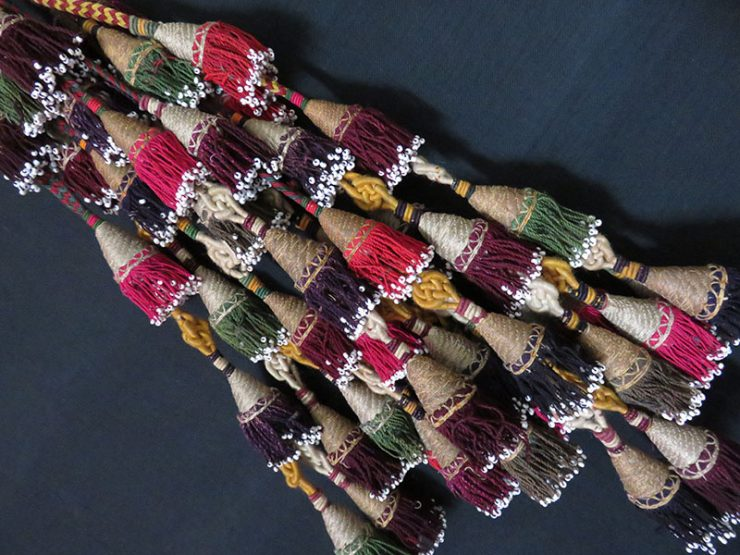 Afghanistan - tribal pair of silk and glass beaded tassels