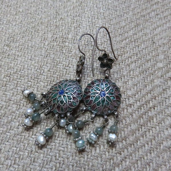 Uzbekistan – Bokhara ethnic silver enameled earrings