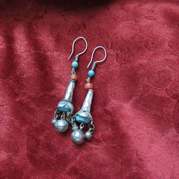 Uzbekistan – Fargana Valley, ethnic silver earrings