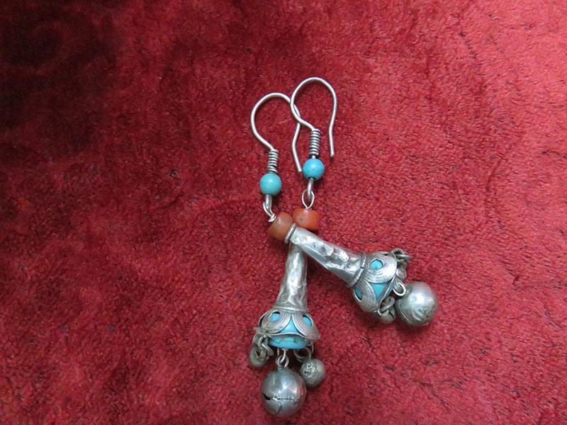 Uzbekistan Fargana Valley Ethnic Silver Earrings