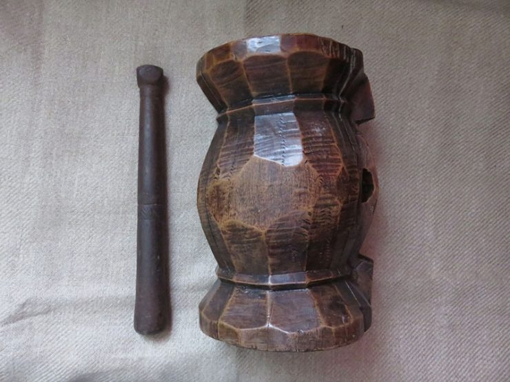 Anatolia - Black Sea hand carved wooden mortar and pestle