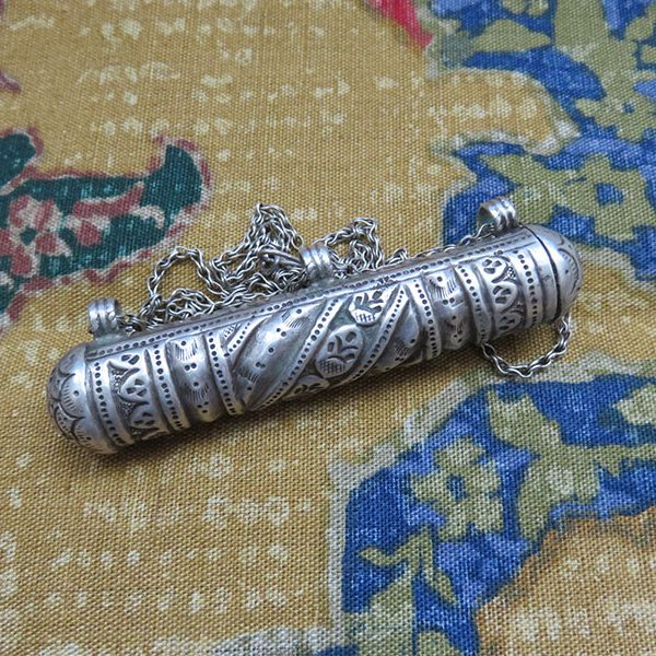 Afghanistan – Pashtun tribal silver talisman tube necklace