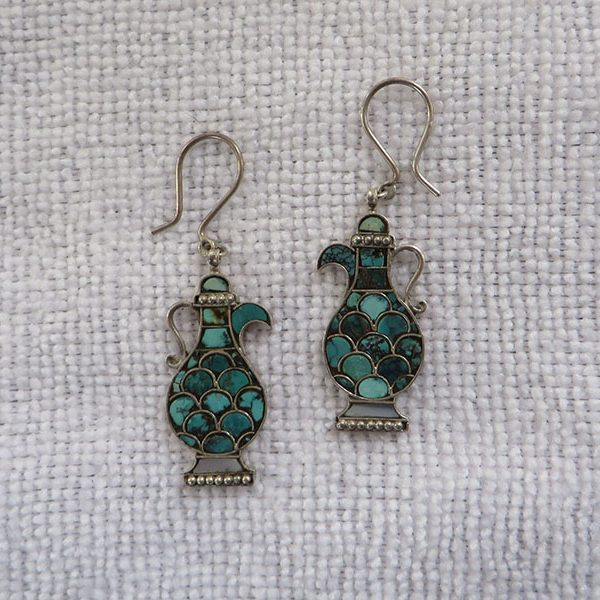 Uzbekistan – Bokhara tribal silver / Turquoise earrings