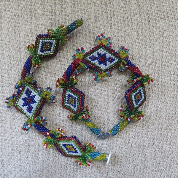 Anatolian tribal glass bead crochet pair of bracelets