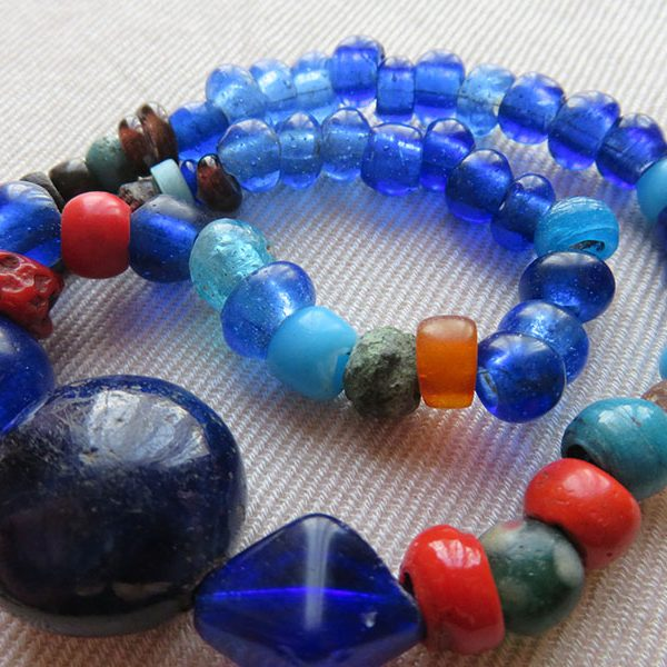 Persian antique glass bead necklace
