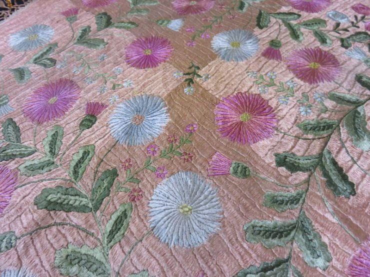 Hungarian antique silk satin stitch embroidered cover