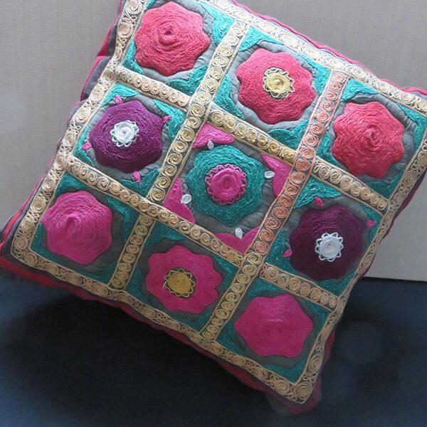 Tajikistan - Lakai ethnic silk embroidery pillow cover