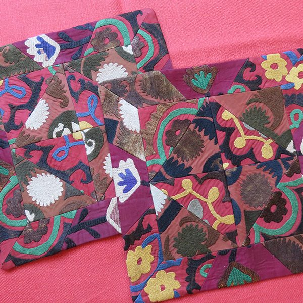 Tajikistan – pair of silk suzani pillow covers