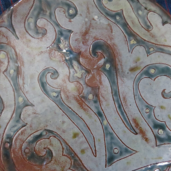 Kyrgyz tribal clay ceramic glazed plate