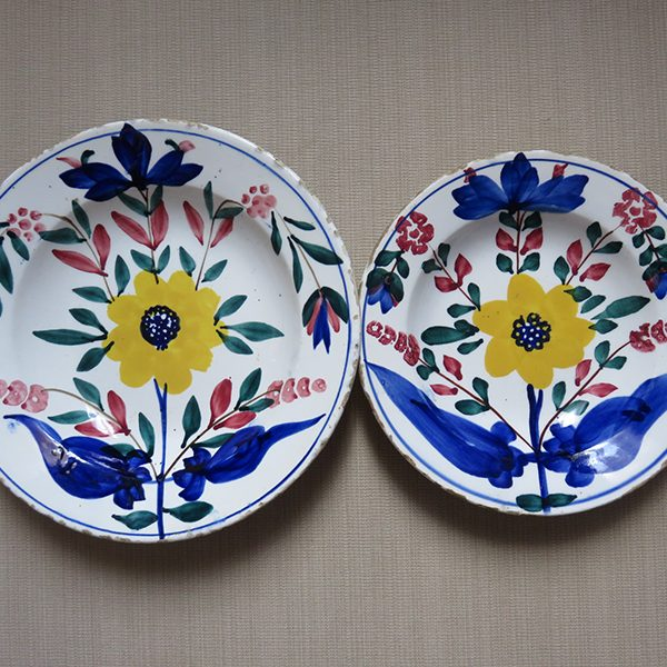 Ottoman antique ceramic plates with floral design