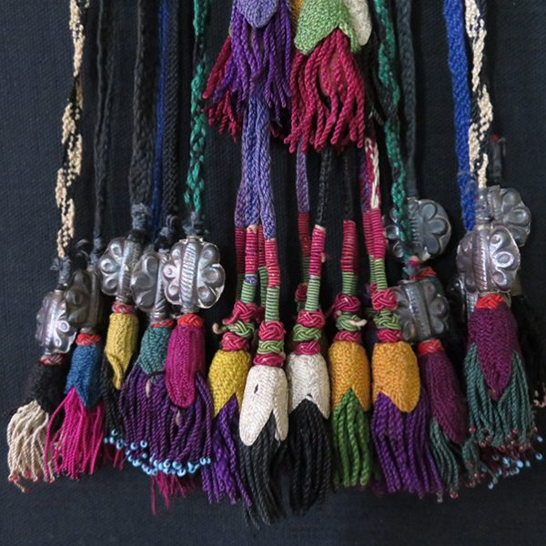 Uzbekistan Surkhandarya tribal hair decoration, glass beaded and silk braided tassels