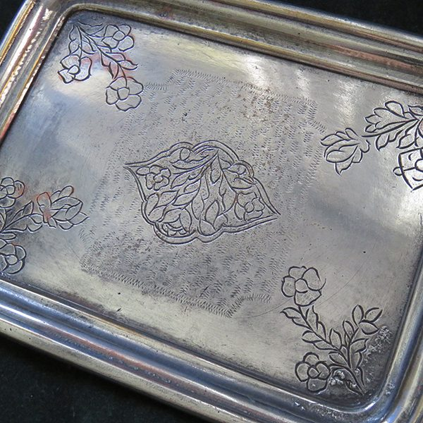 Anatolia Ottoman antique bronze mini tinned tray