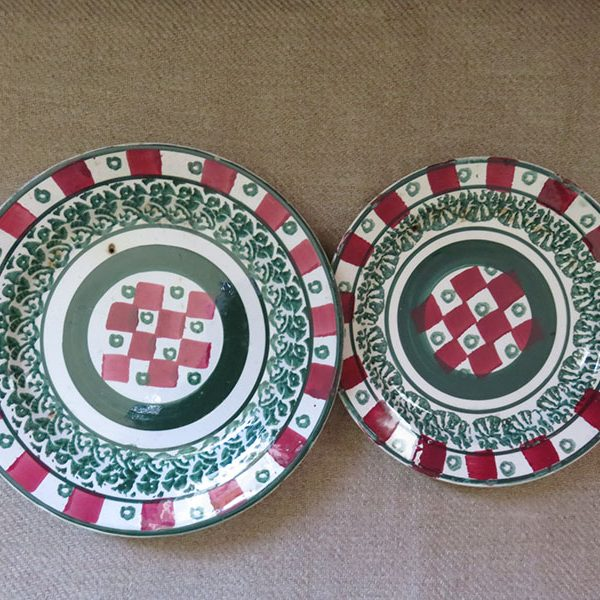 M.S.Kuznetsov pair of antique glazed ceramic plates