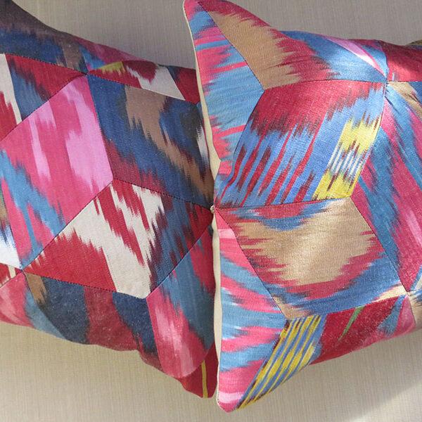 Uzbekistan pair of patchwork silk Ikat pillow covers