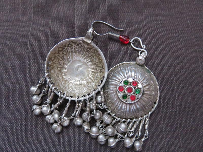 Afghanistan Kuchi Antique Ethnic Silver Earrings