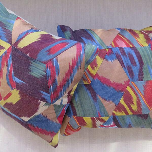 Uzbekistan pair of silk ikat pillow covers