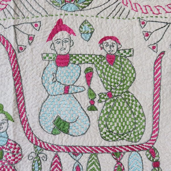 India - West Bengal ethnic Kantha silk embroidery