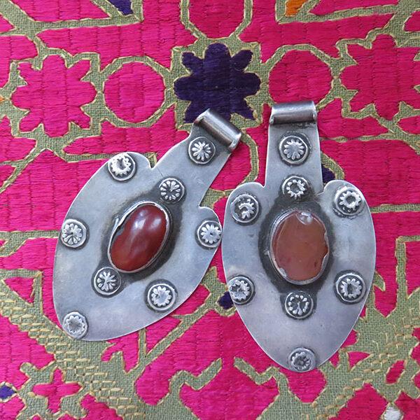 Turkmen Yomud tribal Asyk silver pendants