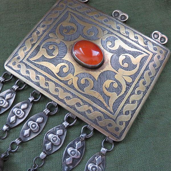Turkmenistan - ethnic silver gilded pendant