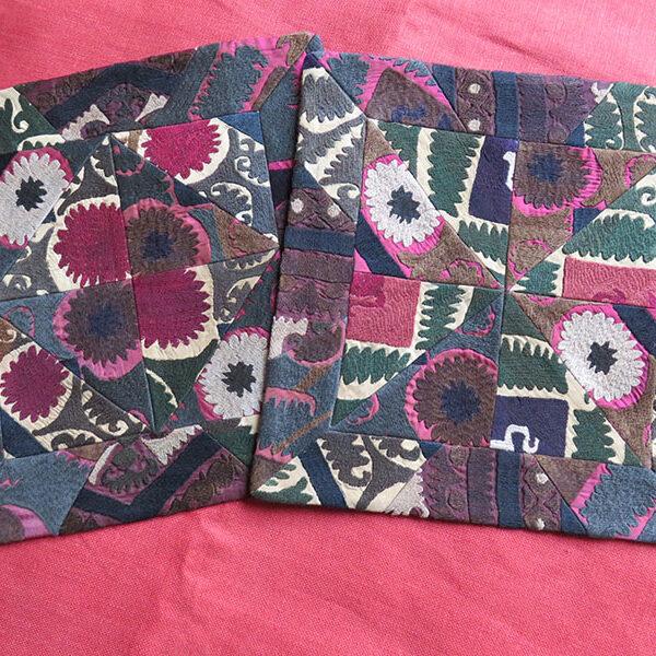 Tajikistan old silk suzani pair of pillow cases