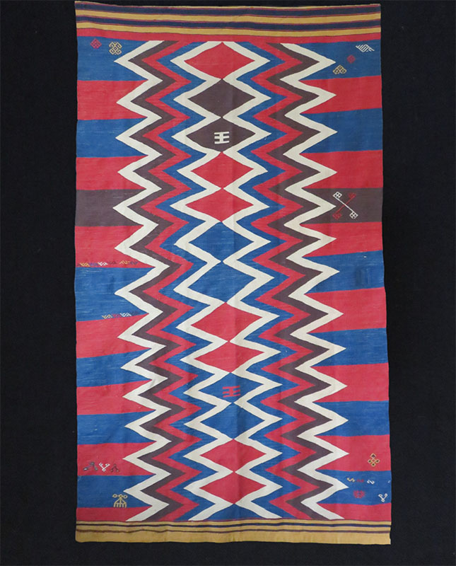 Anatolian ethnic kilim with Caucasian design