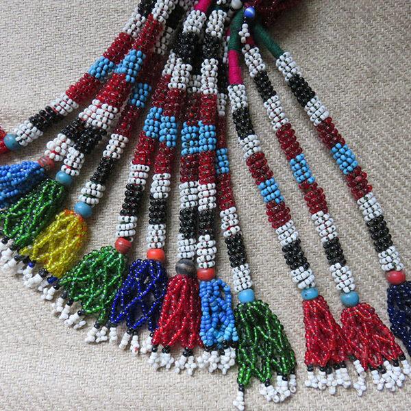 Afghanistan tribal glass beaded tassels