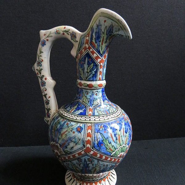 Anatolia - Kutahya antique glazed ceramic ewer