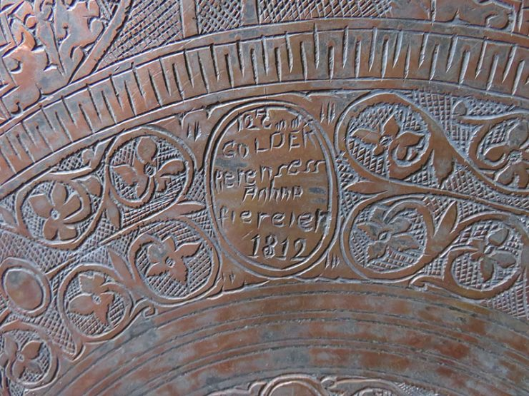 Anatolian Christian antique hand forged copper tray