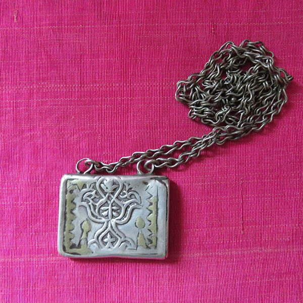 Turkmenistan Yomud antique talisman silver book shape necklace