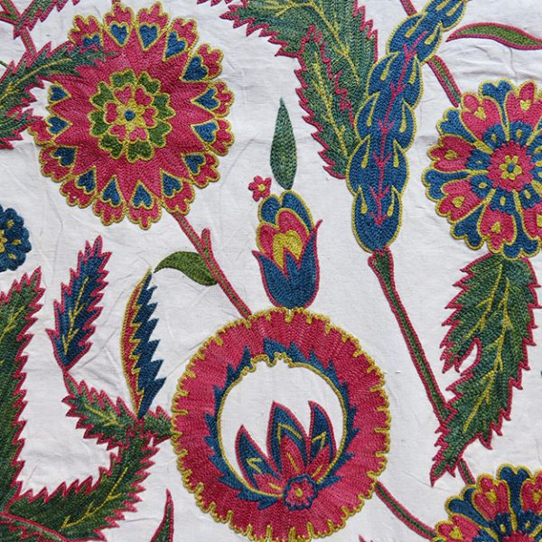 Uzbekistan - Fargana Valley silk suzani table runner - wall hanging