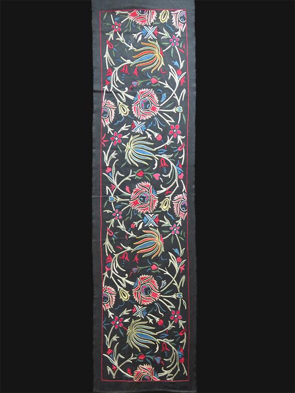 Uzbekistan - Fargana Valley silk suzani table runner - wall hanging