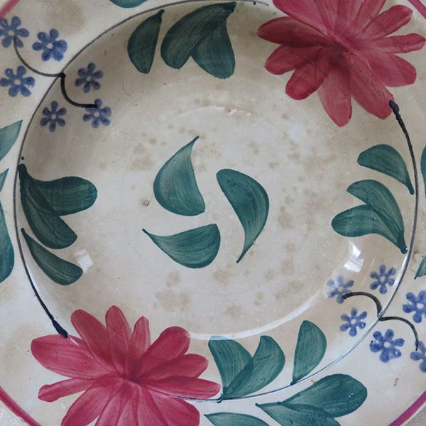 Ottoman style antique glazed ceramic plate