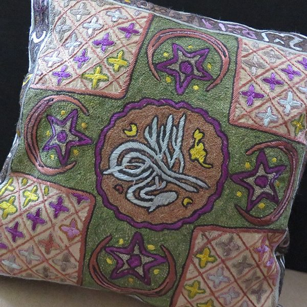 Anatolia - Trace, Edirne silk and metallic embroidery pillow cover