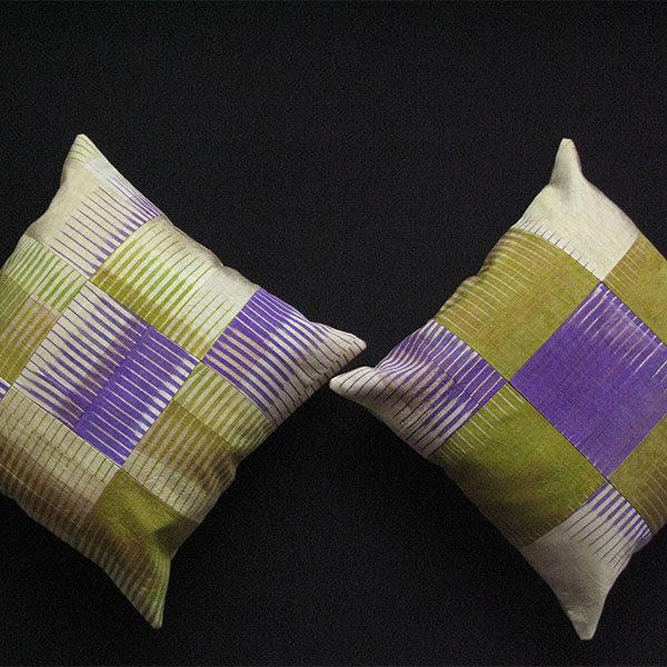 Uzbekistan Silk Ikat antique pair of pillow covers