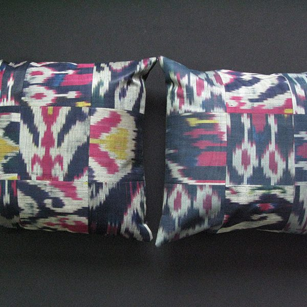 Tajikistan Silk Ikat antique pair of pillow covers